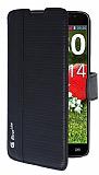 Eiroo More LG G Pro Lite Standl� C�zdanl� Siyah Deri K�l�f