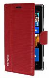 Eiroo More Nokia Lumia 925 Standl� C�zdanl� K�rm�z� Deri K�l�f