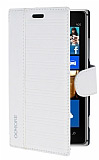 Eiroo More Nokia Lumia 925 Standl� C�zdanl� Beyaz Deri K�l�f