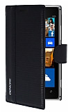 Eiroo More Nokia Lumia 925 Standl� C�zdanl� Siyah Deri K�l�f