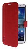Eiroo More Samsung Galaxy Mega 6.3 Standl� C�zdanl� K�rm�z� Deri K�l�f