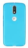 Motorola Moto G4 / G4 Plus Ultra İnce Şeffaf Mavi Silikon Kılıf