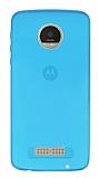 Eiroo Motorola Moto Z Play Ultra İnce Şeffaf Mavi Silikon Kılıf