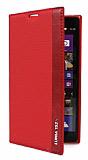 Nokia Lumia 1520 Gizli Mıknatıslı İnce Yan Kapaklı Kırmızı Deri Kılıf