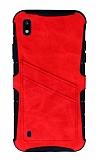 Eiroo Notecase Samsung Galaxy A10 Cüzdanlı Kırmızı Rubber Kılıf