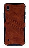 Eiroo Notecase Samsung Galaxy A10 Cüzdanlı Kahverengi Rubber Kılıf