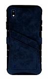 Eiroo Notecase Samsung Galaxy A10 Cüzdanlı Lacivert Rubber Kılıf