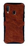 Eiroo Notecase Samsung Galaxy A20 / A30 Cüzdanlı Kahverengi Rubber Kılıf