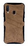 Eiroo Notecase Samsung Galaxy A20 / A30 Cüzdanlı Açık Kahverengi Rubber Kılıf