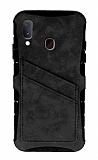 Eiroo Notecase Samsung Galaxy A20 / A30 Cüzdanlı Gri Rubber Kılıf