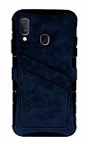Eiroo Notecase Samsung Galaxy A20 / A30 Cüzdanlı Lacivert Rubber Kılıf