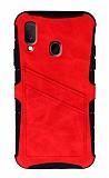 Eiroo Notecase Samsung Galaxy A20 / A30 Cüzdanlı Kırmızı Rubber Kılıf