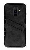 Eiroo Notecase Samsung Galaxy A6 Plus Cüzdanlı Gri Rubber Kılıf