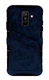 Eiroo Notecase Samsung Galaxy A6 Plus Cüzdanlı Lacivert Rubber Kılıf
