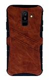 Eiroo Notecase Samsung Galaxy A6 Plus Cüzdanlı Kahverengi Rubber Kılıf