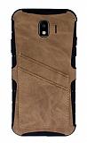Eiroo Notecase Samsung Galaxy J4 Cüzdanlı Açık Kahverengi Rubber Kılıf