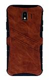 Eiroo Notecase Samsung Galaxy J4 Cüzdanlı Kahverengi Rubber Kılıf
