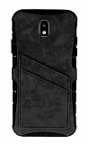 Eiroo Notecase Samsung Galaxy J4 Cüzdanlı Gri Rubber Kılıf