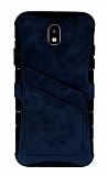 Eiroo Notecase Samsung Galaxy J4 Cüzdanlı Lacivert Rubber Kılıf