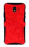 Eiroo Notecase Samsung Galaxy J4 Cüzdanlı Kırmızı Rubber Kılıf