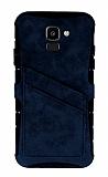 Eiroo Notecase Samsung Galaxy J6 Cüzdanlı Lacivert Rubber Kılıf