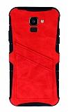 Eiroo Notecase Samsung Galaxy J6 Cüzdanlı Kırmızı Rubber Kılıf