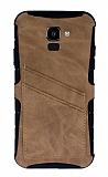 Eiroo Notecase Samsung Galaxy J6 Cüzdanlı Açık Kahverengi Rubber Kılıf