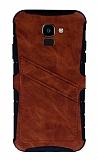 Eiroo Notecase Samsung Galaxy J6 Cüzdanlı Kahverengi Rubber Kılıf