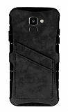 Eiroo Notecase Samsung Galaxy J6 Cüzdanlı Gri Rubber Kılıf