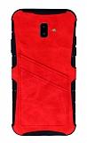 Eiroo Notecase Samsung Galaxy J6 Plus Cüzdanlı Kırmızı Rubber Kılıf