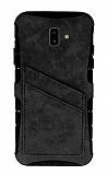 Eiroo Notecase Samsung Galaxy J6 Plus Cüzdanlı Gri Rubber Kılıf