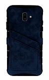 Eiroo Notecase Samsung Galaxy J6 Plus Cüzdanlı Lacivert Rubber Kılıf