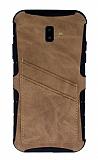 Eiroo Notecase Samsung Galaxy J6 Plus Cüzdanlı Açık Kahverengi Rubber Kılıf