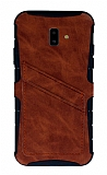 Eiroo Notecase Samsung Galaxy J6 Plus Cüzdanlı Kahverengi Rubber Kılıf