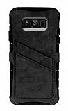 Eiroo Notecase Samsung Galaxy S8 Cüzdanlı Gri Rubber Kılıf