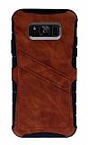 Eiroo Notecase Samsung Galaxy S8 Cüzdanlı Kahverengi Rubber Kılıf