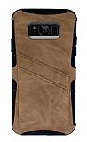 Eiroo Notecase Samsung Galaxy S8 Cüzdanlı Açık Kahverengi Rubber Kılıf