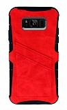 Eiroo Notecase Samsung Galaxy S8 Cüzdanlı Kırmızı Rubber Kılıf