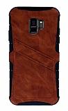 Eiroo Notecase Samsung Galaxy S9 Cüzdanlı Kahverengi Rubber Kılıf