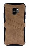 Eiroo Notecase Samsung Galaxy S9 Cüzdanlı Açık Kahverengi Rubber Kılıf