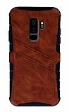 Eiroo Notecase Samsung Galaxy S9 Plus Cüzdanlı Kahverengi Rubber Kılıf