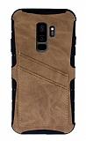 Eiroo Notecase Samsung Galaxy S9 Plus Cüzdanlı Açık Kahverengi Rubber Kılıf