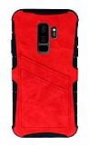 Eiroo Notecase Samsung Galaxy S9 Plus Cüzdanlı Kırmızı Rubber Kılıf