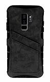 Eiroo Notecase Samsung Galaxy S9 Plus Cüzdanlı Gri Rubber Kılıf