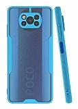 Eiroo Painted Xiaomi Poco X3 Kamera Korumalı Mavi Kılıf