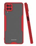 Eiroo Painted Samsung Galaxy A12 Kamera Korumalı Kırmızı Kılıf