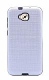 Eiroo Panther Asus Zenfone 4 Selfie ZD553KL Silikon Kenarlı Silver Rubber Kılıf