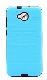Eiroo Panther Asus Zenfone 4 Selfie ZD553KL Silikon Kenarlı Mavi Rubber Kılıf