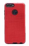 Eiroo Panther Huawei P Smart Silikon Kenarlı Kırmızı Rubber Kılıf