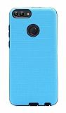 Eiroo Panther Huawei P Smart Silikon Kenarlı Mavi Rubber Kılıf
